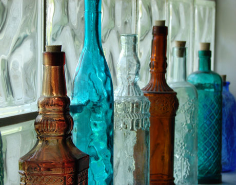 Bottle service an artist s dwelling 7 the walkup for Small colored glass jars
