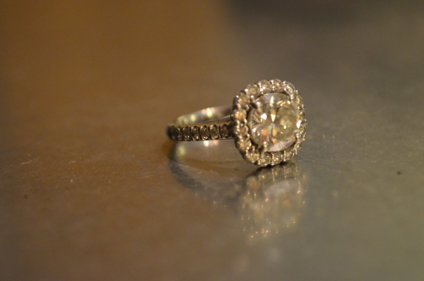 Rounded, Square Halo Engagement Ring.