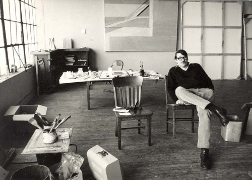 Richard Diebenkorn in his studio at Main Street and Ashland Avenue in Santa Monica, ca. 1970–71. Photo by Richard Grant. Courtesy of the Richard Diebenkorn Foundation and Richard Grant