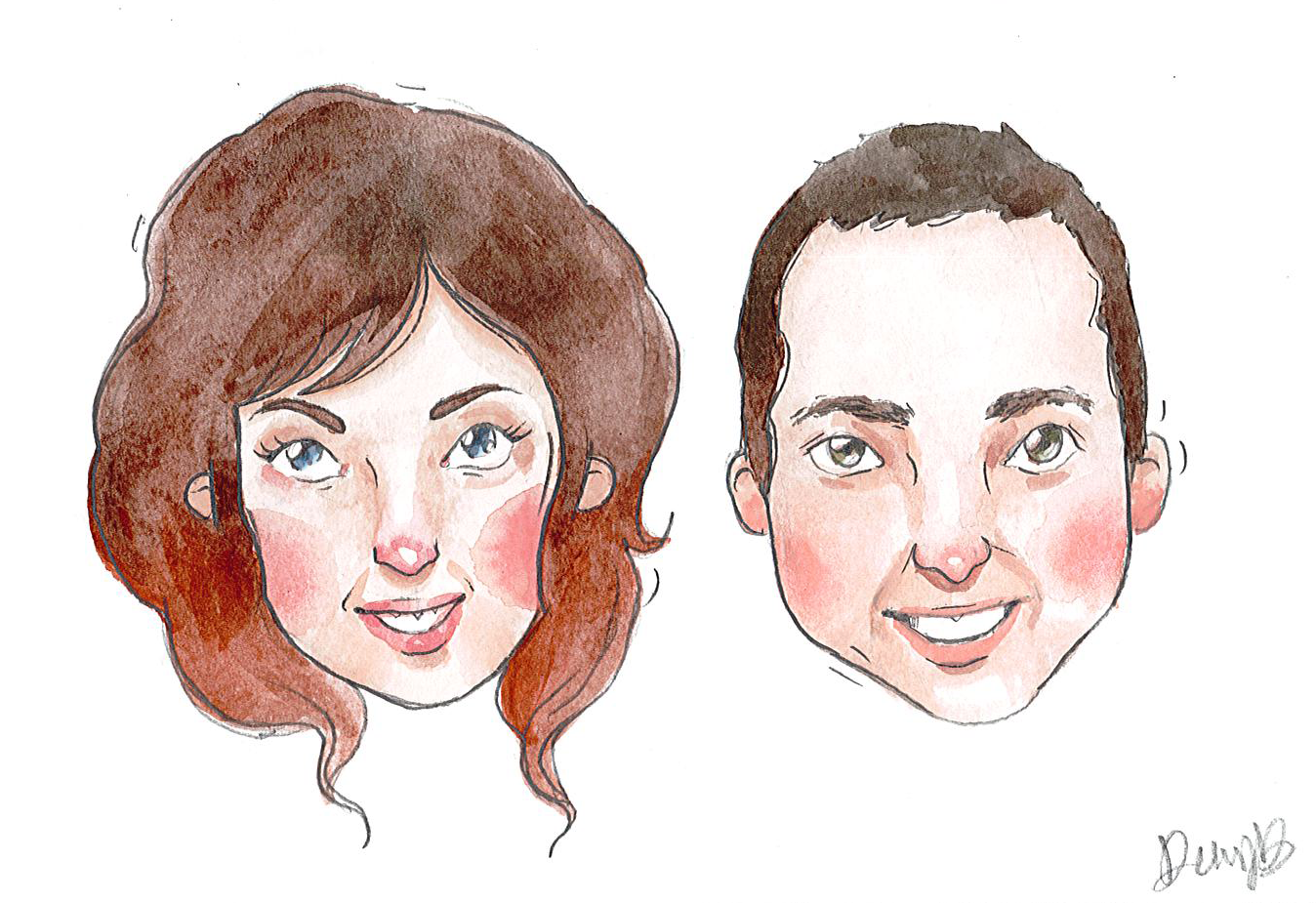 Mike and Keren Wedding Watercolor