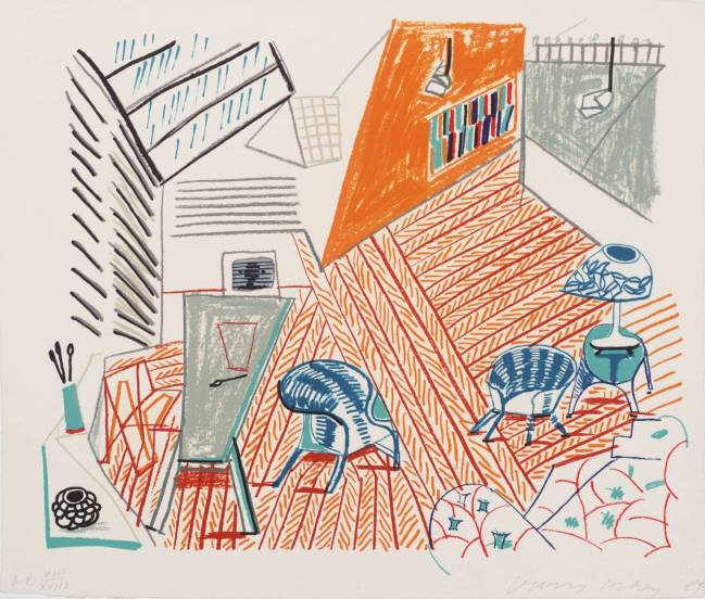 Pembroke Studio with Blue Chairs and Lamp 1984 by David Hockney born 1937