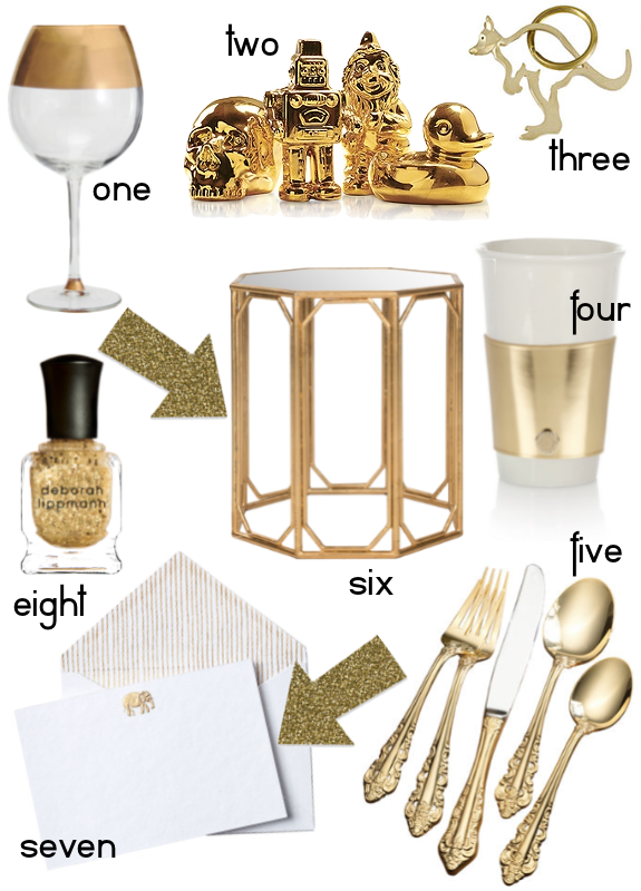 Gold, gilded, gold metal interior design items and furniture