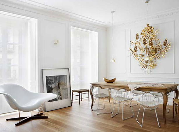 Gold Metal and White Apartment
